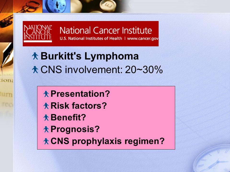 Natural Course Burkitt s Lymphoma CNS involvement: 20~30% Presentation.