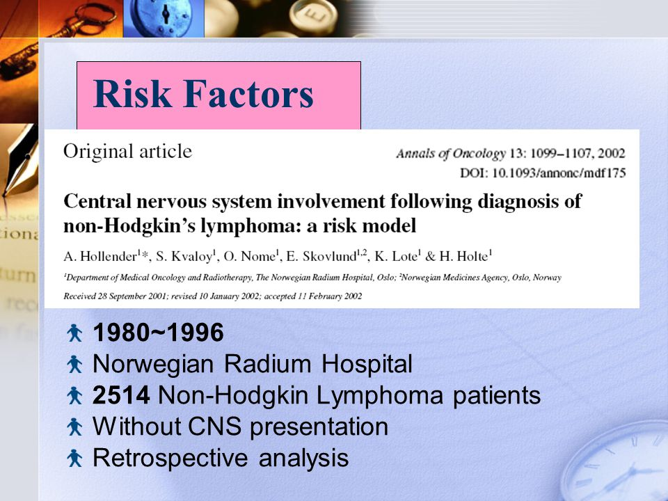 1980~1996 Norwegian Radium Hospital 2514 Non-Hodgkin Lymphoma patients Without CNS presentation Retrospective analysis