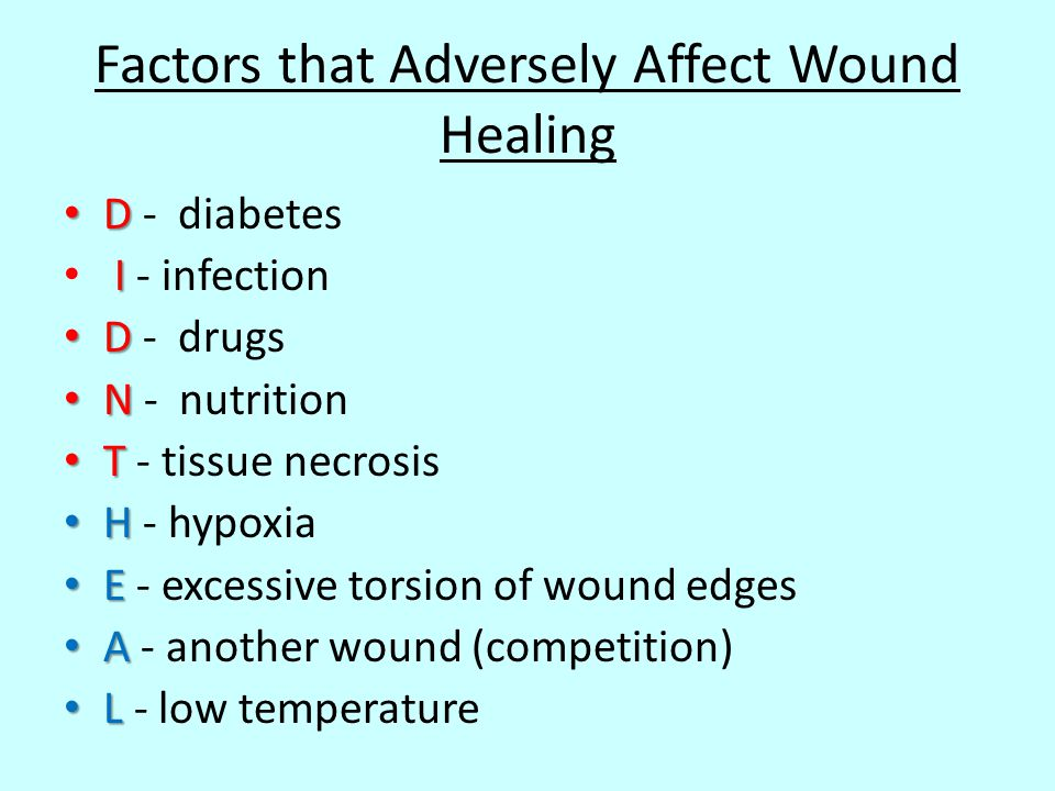 Factors that Adversely Affect Wound Healing D D - diabetes I I - infection D D - drugs N N - nutrition T T - tissue necrosis H H - hypoxia E E - exces