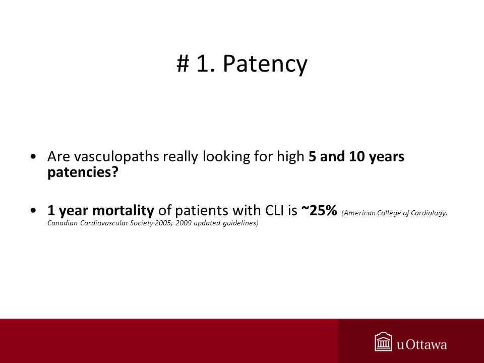 # 1. Patency Are vasculopaths really looking for high 5 and 10 years patencies.