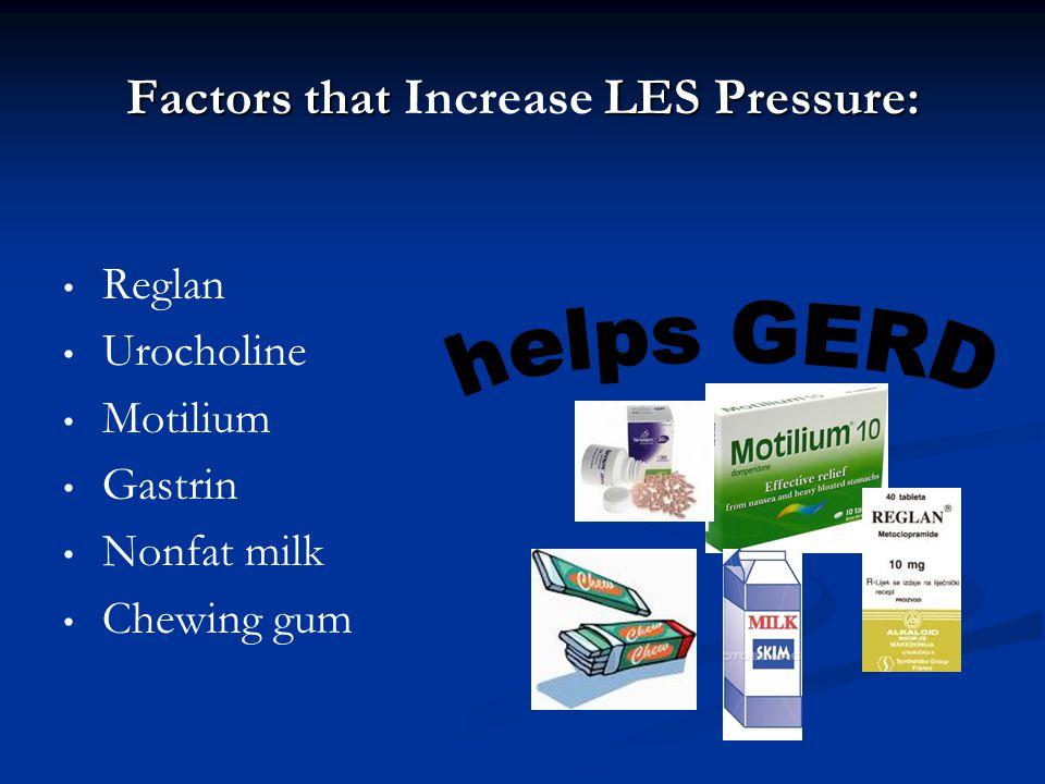 Factors that LES Pressure: Factors that Increase LES Pressure: Reglan Urocholine Motilium Gastrin Nonfat milk Chewing gum