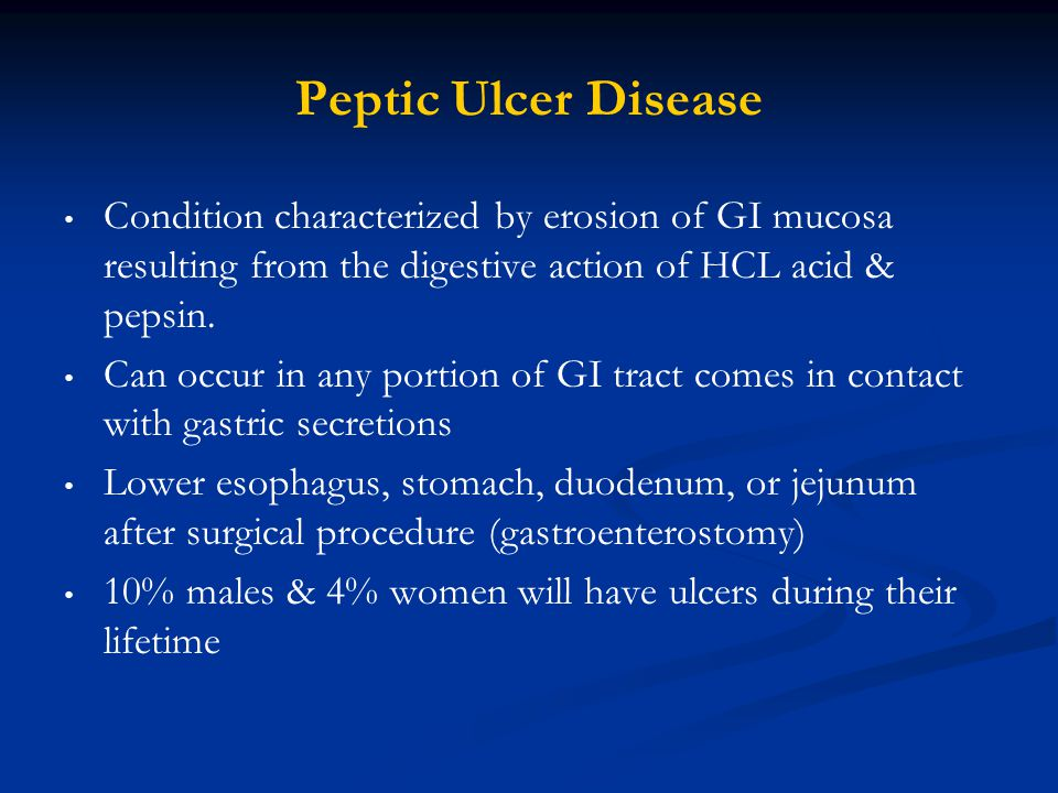 Condition characterized by erosion of GI mucosa resulting from the digestive action of HCL acid & pepsin. Can occur in any portion of GI tract comes i