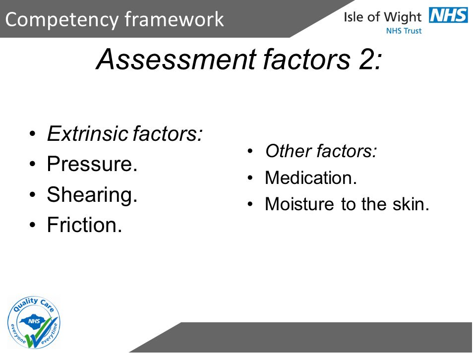 Competency framework Assessment factors 2: Extrinsic factors: Pressure. Shearing. Friction. Other factors: Medication. Moisture to the skin.