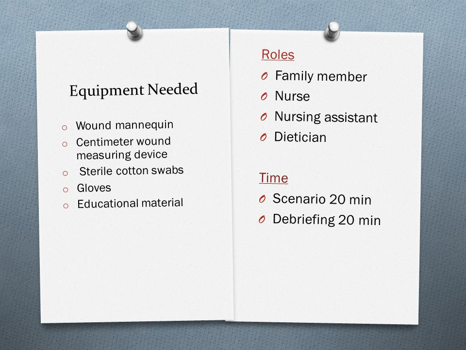 Equipment Needed Roles O Family member O Nurse O Nursing assistant O Dietician Time O Scenario 20 min O Debriefing 20 min o Wound mannequin o Centimet