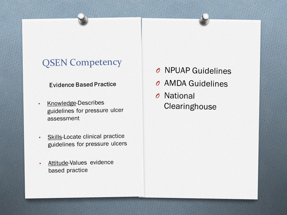 QSEN Competency O NPUAP Guidelines O AMDA Guidelines O National Clearinghouse Evidence Based Practice Knowledge-Describes guidelines for pressure ulce