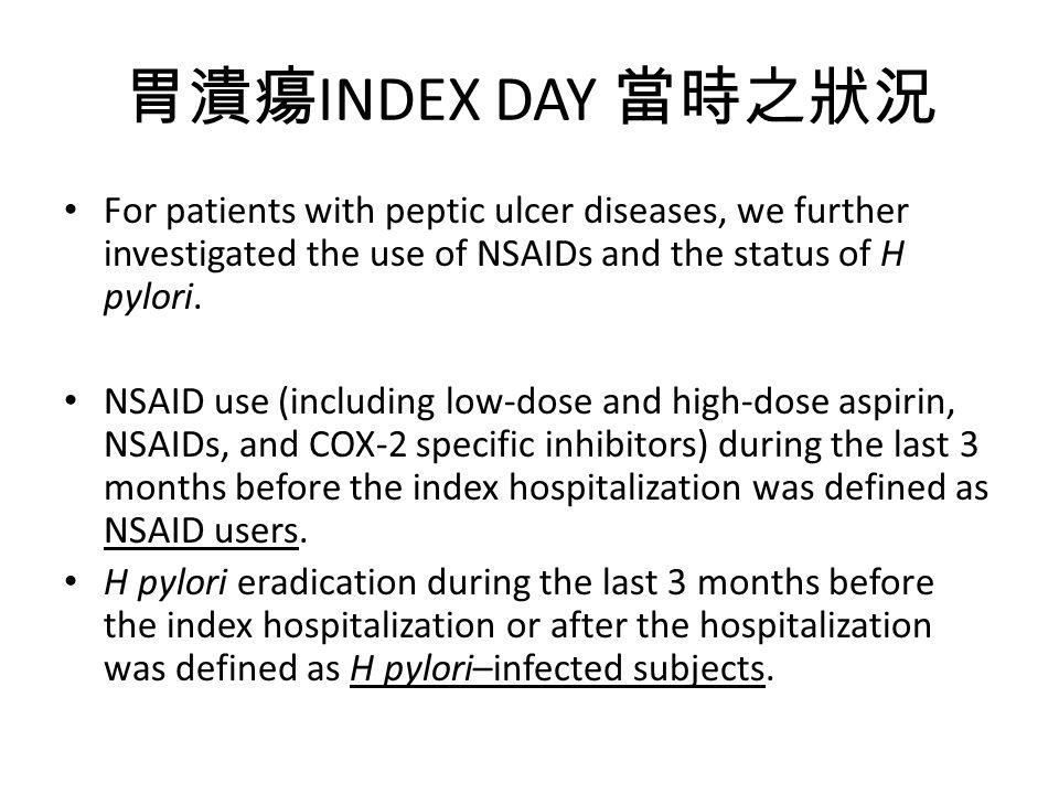 胃潰瘍 INDEX DAY 當時之狀況 For patients with peptic ulcer diseases, we further investigated the use of NSAIDs and the status of H pylori.