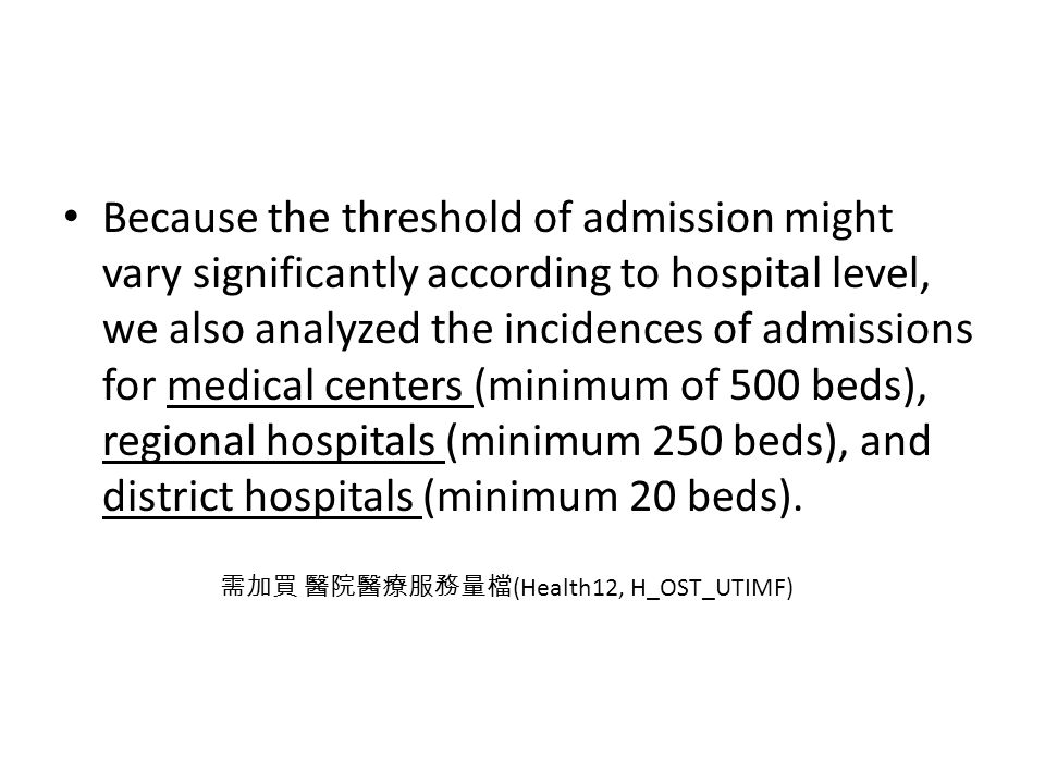 Because the threshold of admission might vary significantly according to hospital level, we also analyzed the incidences of admissions for medical centers (minimum of 500 beds), regional hospitals (minimum 250 beds), and district hospitals (minimum 20 beds).