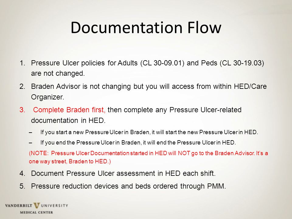 Documentation Flow 1.Pressure Ulcer policies for Adults (CL 30-09.01) and Peds (CL 30-19.03) are not changed.