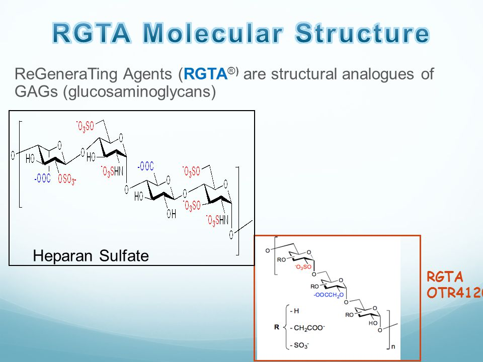 ReGeneraTing Agents (RGTA ®) are structural analogues of GAGs (glucosaminoglycans) RGTA OTR4120 Heparan Sulfate