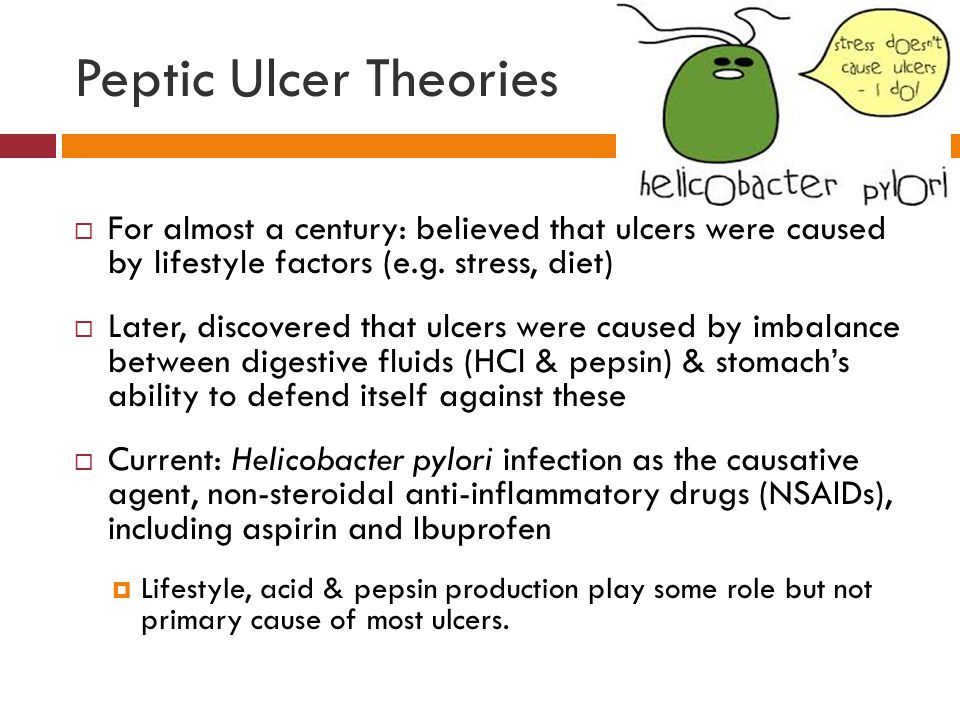 Peptic Ulcer Theories  For almost a century: believed that ulcers were caused by lifestyle factors (e.g.