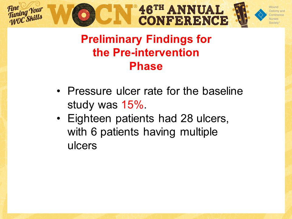 Pressure ulcer rate for the baseline study was 15%.