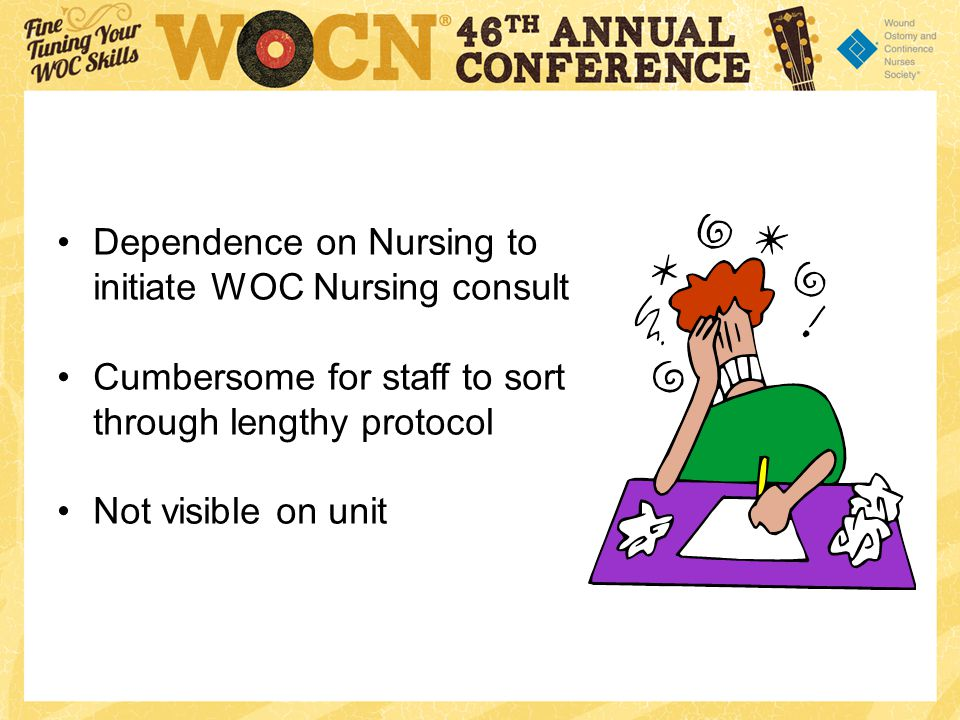 Dependence on Nursing to initiate WOC Nursing consult Cumbersome for staff to sort through lengthy protocol Not visible on unit
