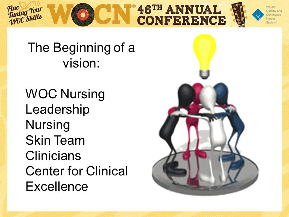 The Beginning of a vision: WOC Nursing Leadership Nursing Skin Team Clinicians Center for Clinical Excellence
