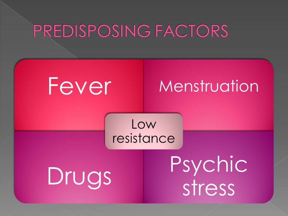 Fever Menstruation Drugs Psychic stress Low resistance