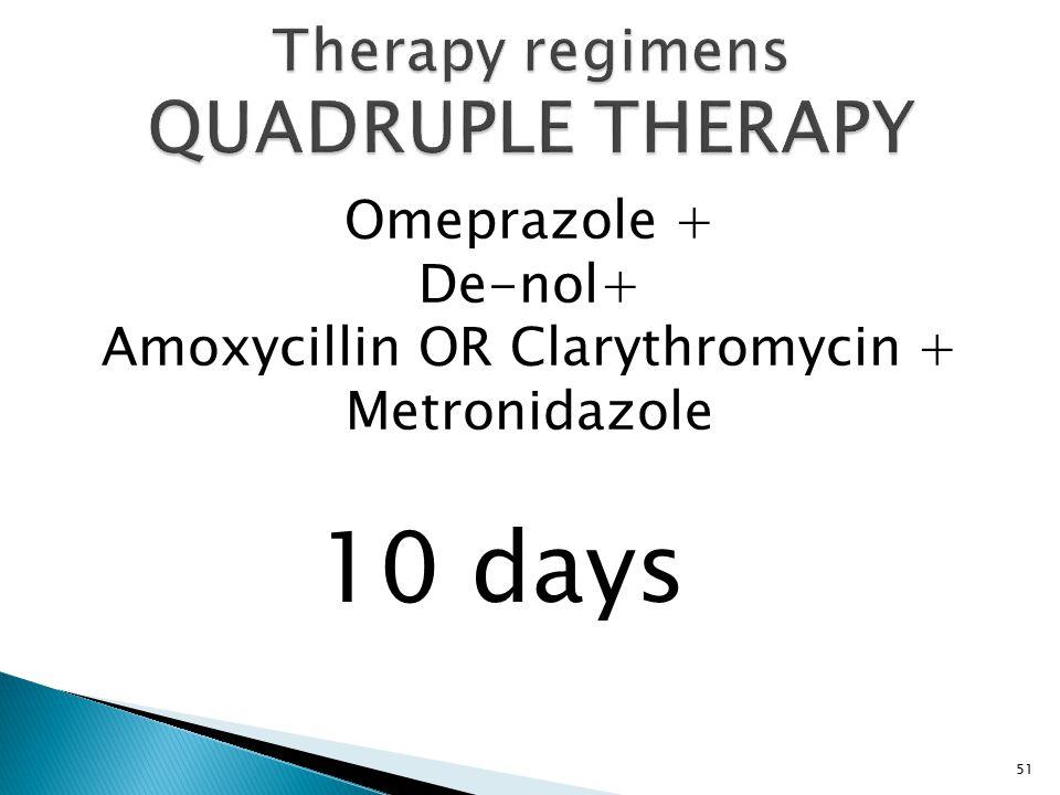 Omeprazole + De-nol+ Amoxycillin OR Clarythromycin + Metronidazole 51 10 days