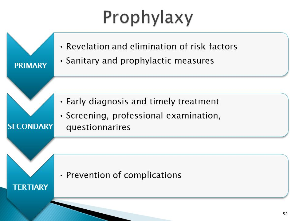PRIMARY Revelation and elimination of risk factors Sanitary and prophylactic measures SECONDARY Early diagnosis and timely treatment Screening, profes