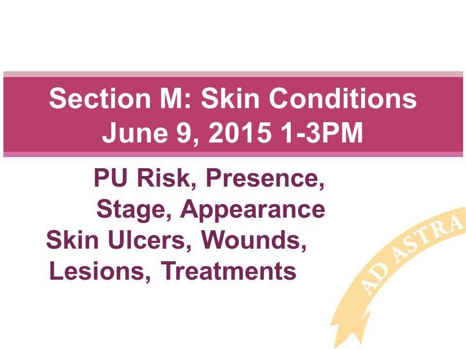 Section M: Skin Conditions June 9, 2015 1-3PM PU Risk, Presence, Stage, Appearance Skin Ulcers, Wounds, Lesions, Treatments