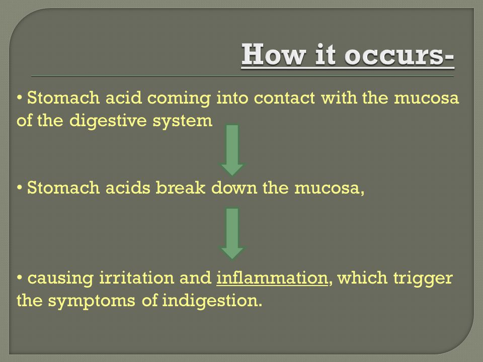Stomach acid coming into contact with the mucosa of the digestive system Stomach acids break down the mucosa, causing irritation and inflammation, whi