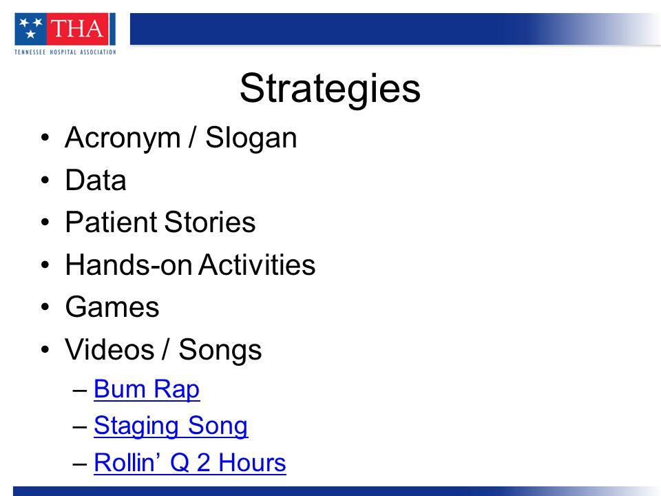 Acronym / Slogan Data Patient Stories Hands-on Activities Games Videos / Songs –Bum RapBum Rap –Staging SongStaging Song –Rollin' Q 2 HoursRollin' Q 2 Hours Strategies