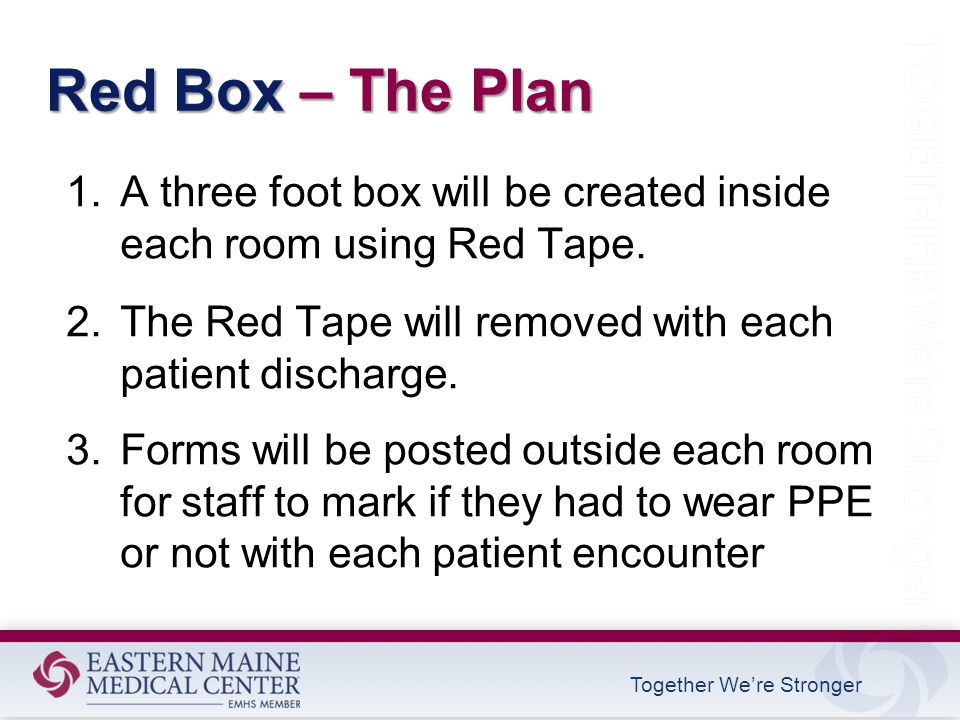 Together We're Stronger Red Box – The Plan 1.A three foot box will be created inside each room using Red Tape.