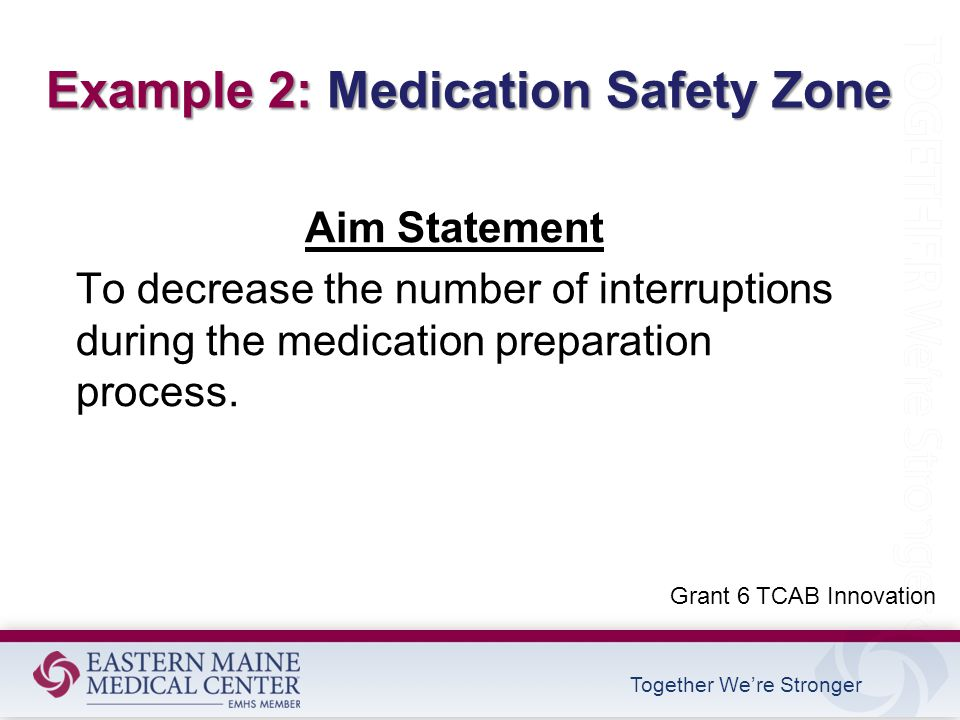 Together We're Stronger Aim Statement To decrease the number of interruptions during the medication preparation process.