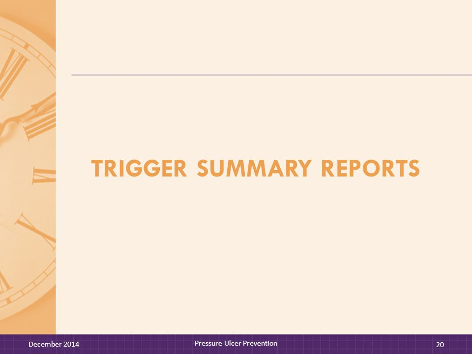 TRIGGER SUMMARY REPORTS December 2014 Pressure Ulcer Prevention 20