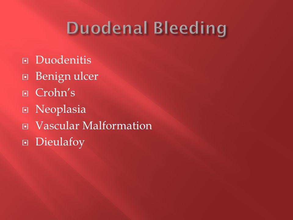  Duodenitis  Benign ulcer  Crohn's  Neoplasia  Vascular Malformation  Dieulafoy