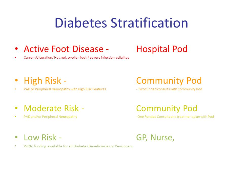 Diabetes Stratification Active Foot Disease -Hospital Pod Current Ulceration/ Hot,red, swollen foot/ severe infection-cellulitus High Risk -Community Pod PAD or Peripheral Neuropathy with High Risk Features- Two funded consults with Community Pod Moderate Risk -Community Pod PAD and/or Peripheral Neuropathy-One Funded Consults and treatment plan with Pod Low Risk -GP, Nurse, WINZ funding available for all Diabetes Beneficiaries or Pensioners