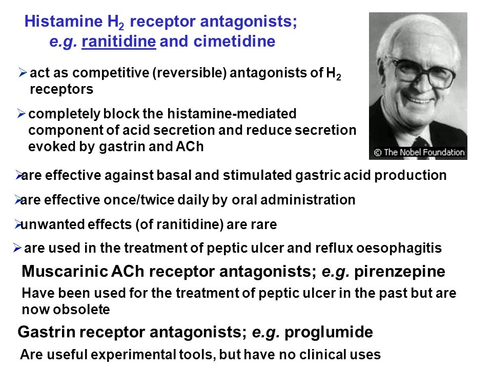  are used in the treatment of peptic ulcer and reflux oesophagitis Muscarinic ACh receptor antagonists; e.g.
