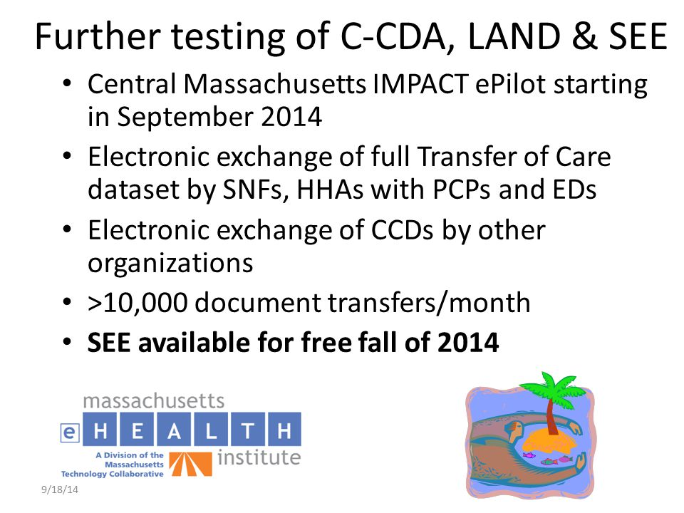 Further testing of C-CDA, LAND & SEE Central Massachusetts IMPACT ePilot starting in September 2014 Electronic exchange of full Transfer of Care datas
