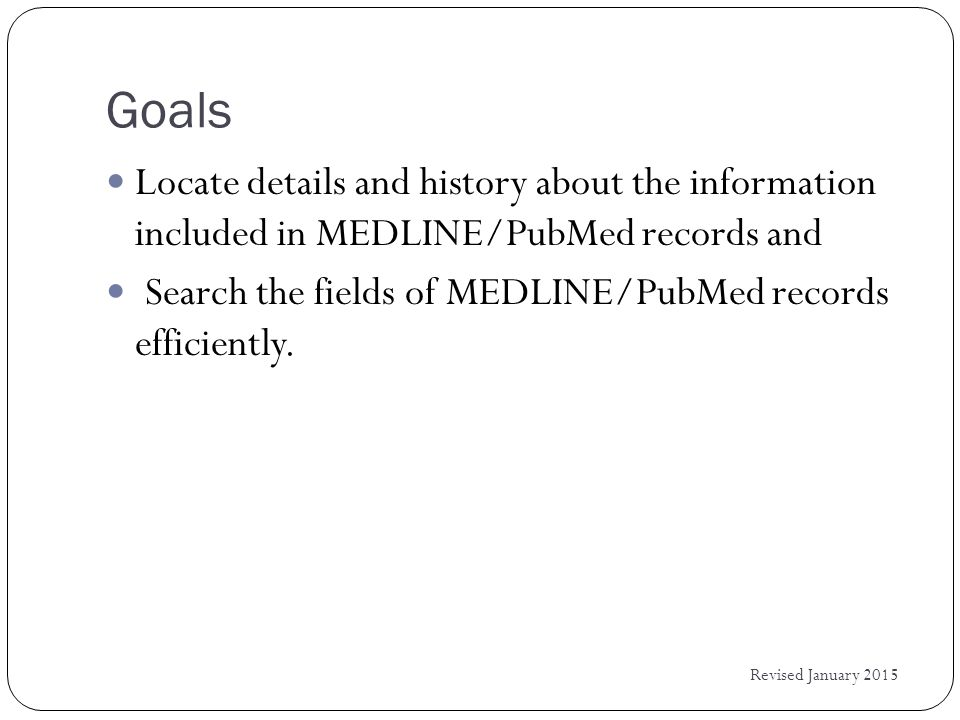 Building Phrase Indexes in PubMed Revised January 2015 A speech analyzer identifies new noun phrases from the title and abstract fields of PubMed The phrase is added if it: occurs at least 3 times in the database contains at least 1 alphabetic character has at most 6 words Phrases are added to the PubMed indexes twice per month