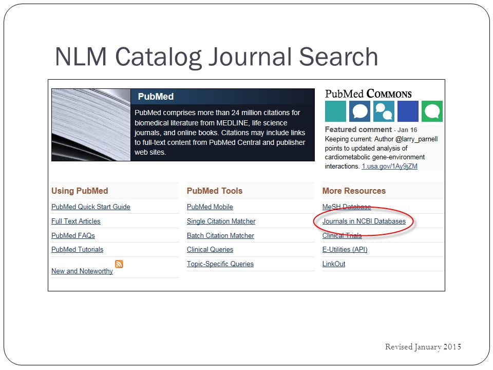 NLM Catalog Journal Search Revised January 2015