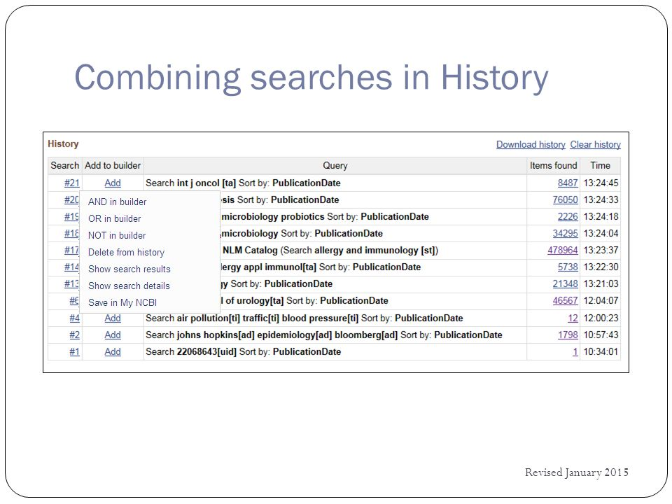 Combining searches in History Revised January 2015