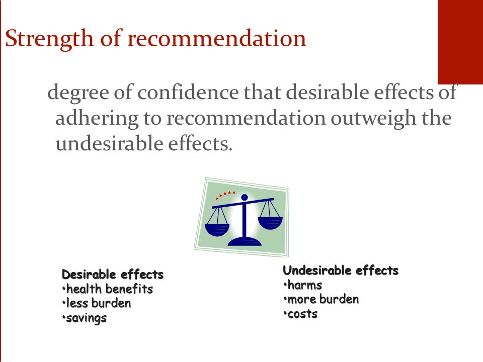 Strength of recommendation degree of confidence that desirable effects of adhering to recommendation outweigh the undesirable effects.