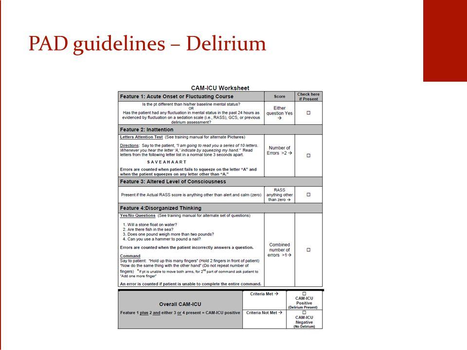 PAD guidelines – Delirium