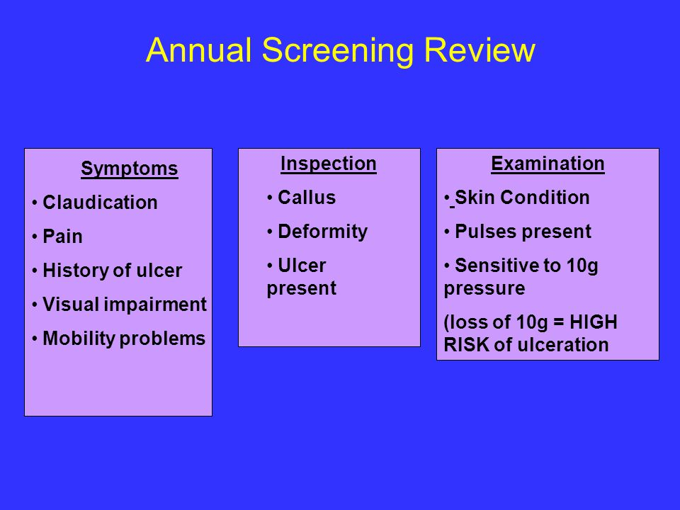 Annual Screening Review Examination Skin Condition Pulses present Sensitive to 10g pressure (loss of 10g = HIGH RISK of ulceration Symptoms Claudicati