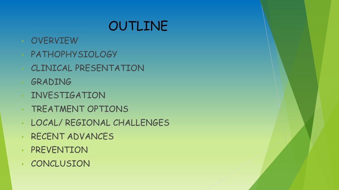 OUTLINE OVERVIEW PATHOPHYSIOLOGY CLINICAL PRESENTATION GRADING INVESTIGATION TREATMENT OPTIONS LOCAL/ REGIONAL CHALLENGES RECENT ADVANCES PREVENTION CONCLUSION