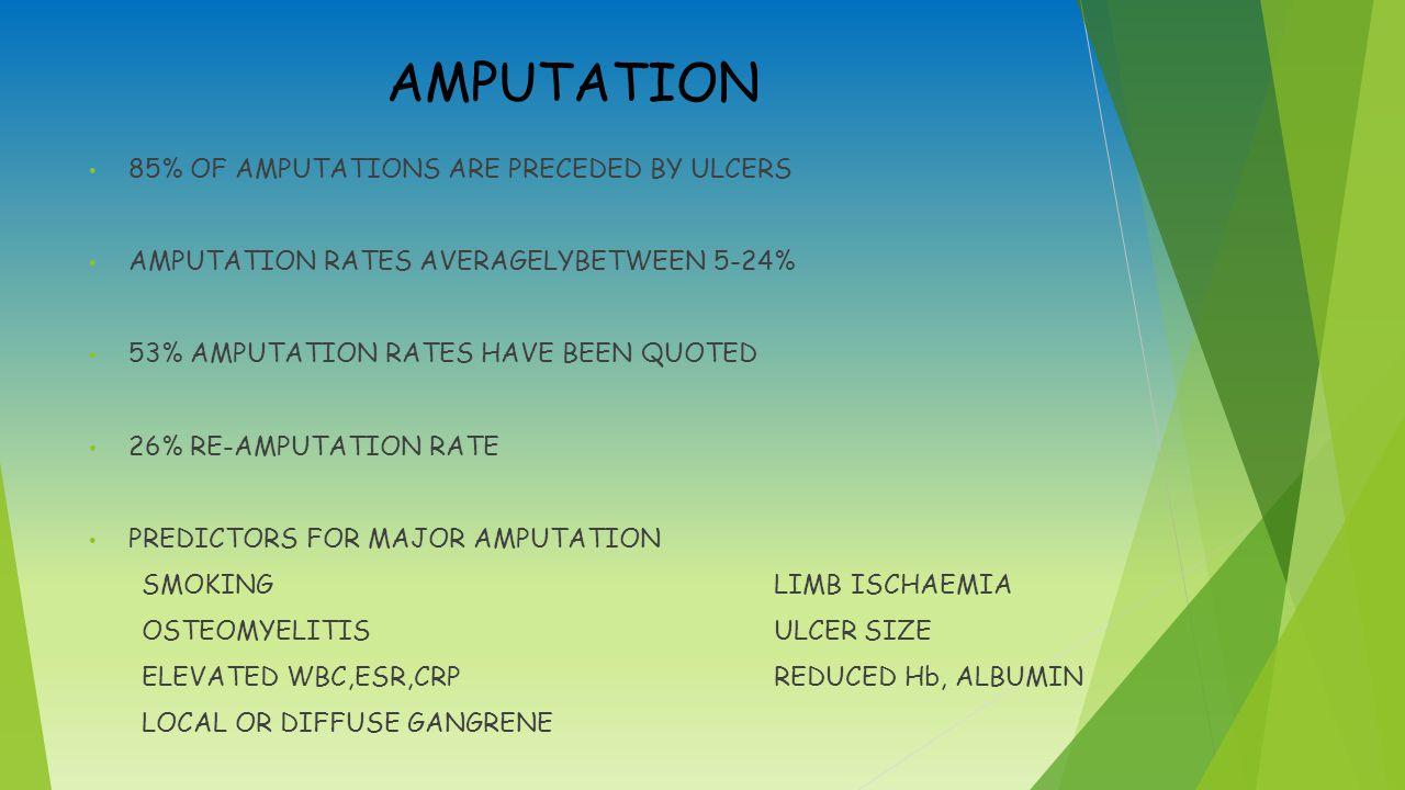 AMPUTATION 85% OF AMPUTATIONS ARE PRECEDED BY ULCERS AMPUTATION RATES AVERAGELYBETWEEN 5-24% 53% AMPUTATION RATES HAVE BEEN QUOTED 26% RE-AMPUTATION RATE PREDICTORS FOR MAJOR AMPUTATION SMOKINGLIMB ISCHAEMIA OSTEOMYELITISULCER SIZE ELEVATED WBC,ESR,CRPREDUCED Hb, ALBUMIN LOCAL OR DIFFUSE GANGRENE