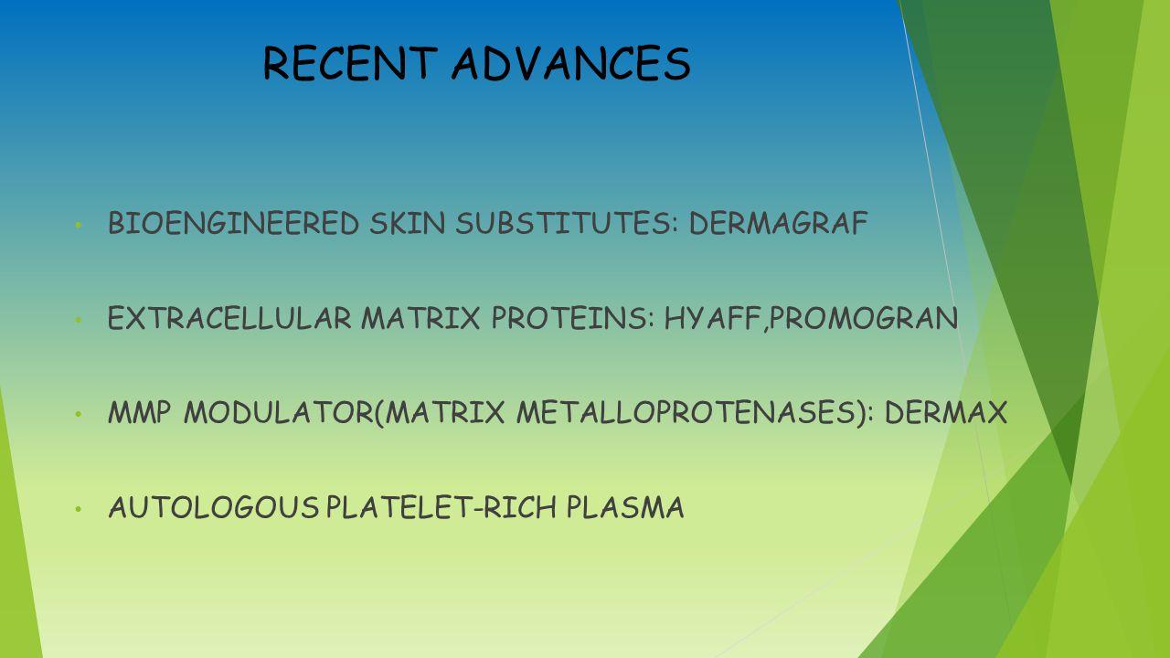 RECENT ADVANCES BIOENGINEERED SKIN SUBSTITUTES: DERMAGRAF EXTRACELLULAR MATRIX PROTEINS: HYAFF,PROMOGRAN MMP MODULATOR(MATRIX METALLOPROTENASES): DERMAX AUTOLOGOUS PLATELET-RICH PLASMA