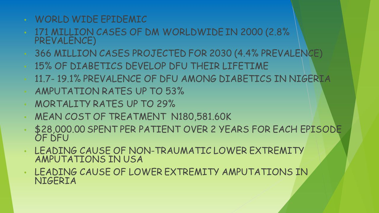 WORLD WIDE EPIDEMIC 171 MILLION CASES OF DM WORLDWIDE IN 2000 (2.8% PREVALENCE) 366 MILLION CASES PROJECTED FOR 2030 (4.4% PREVALENCE) 15% OF DIABETICS DEVELOP DFU THEIR LIFETIME 11.7- 19.1% PREVALENCE OF DFU AMONG DIABETICS IN NIGERIA AMPUTATION RATES UP TO 53% MORTALITY RATES UP TO 29% MEAN COST OF TREATMENT N180,581.60K $28,000.00 SPENT PER PATIENT OVER 2 YEARS FOR EACH EPISODE OF DFU LEADING CAUSE OF NON-TRAUMATIC LOWER EXTREMITY AMPUTATIONS IN USA LEADING CAUSE OF LOWER EXTREMITY AMPUTATIONS IN NIGERIA