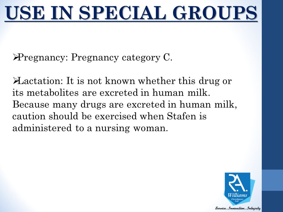  Pregnancy: Pregnancy category C.  Lactation: It is not known whether this drug or its metabolites are excreted in human milk. Because many drugs ar