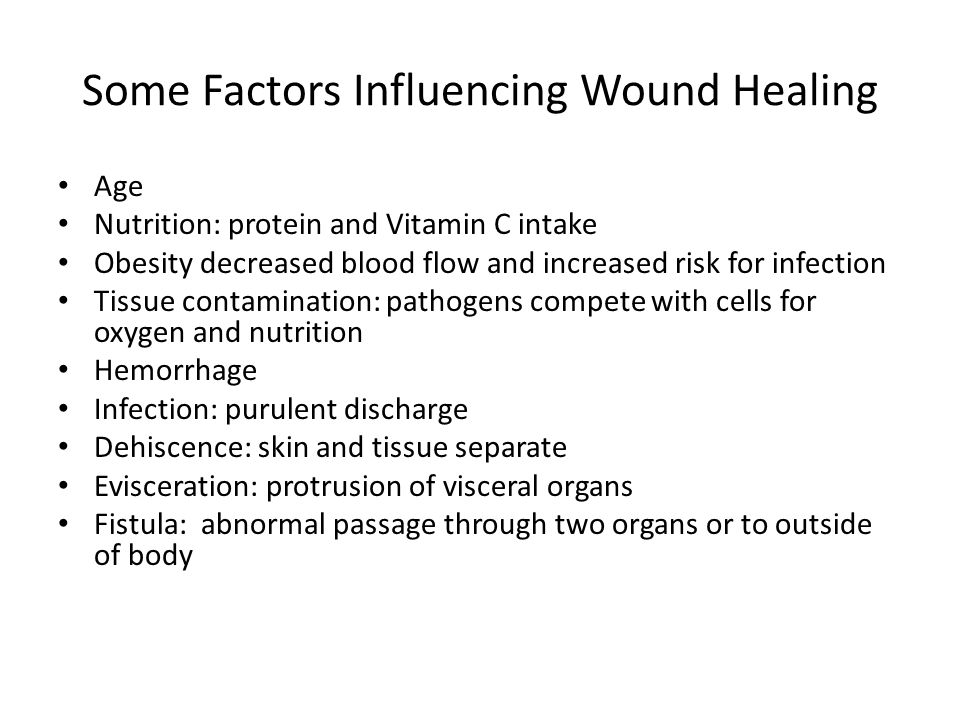 Some Factors Influencing Wound Healing Age Nutrition: protein and Vitamin C intake Obesity decreased blood flow and increased risk for infection Tissu