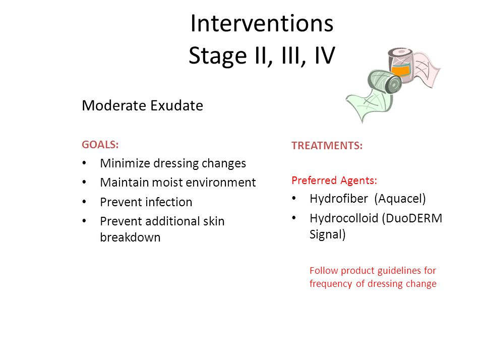 Interventions Stage II, III, IV Moderate Exudate GOALS: Minimize dressing changes Maintain moist environment Prevent infection Prevent additional skin