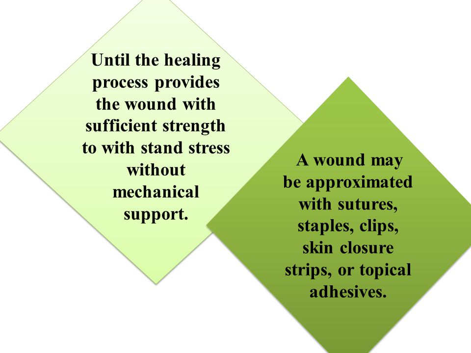 Until the healing process provides the wound with sufficient strength to with stand stress without mechanical support. A wound may be approximated wit