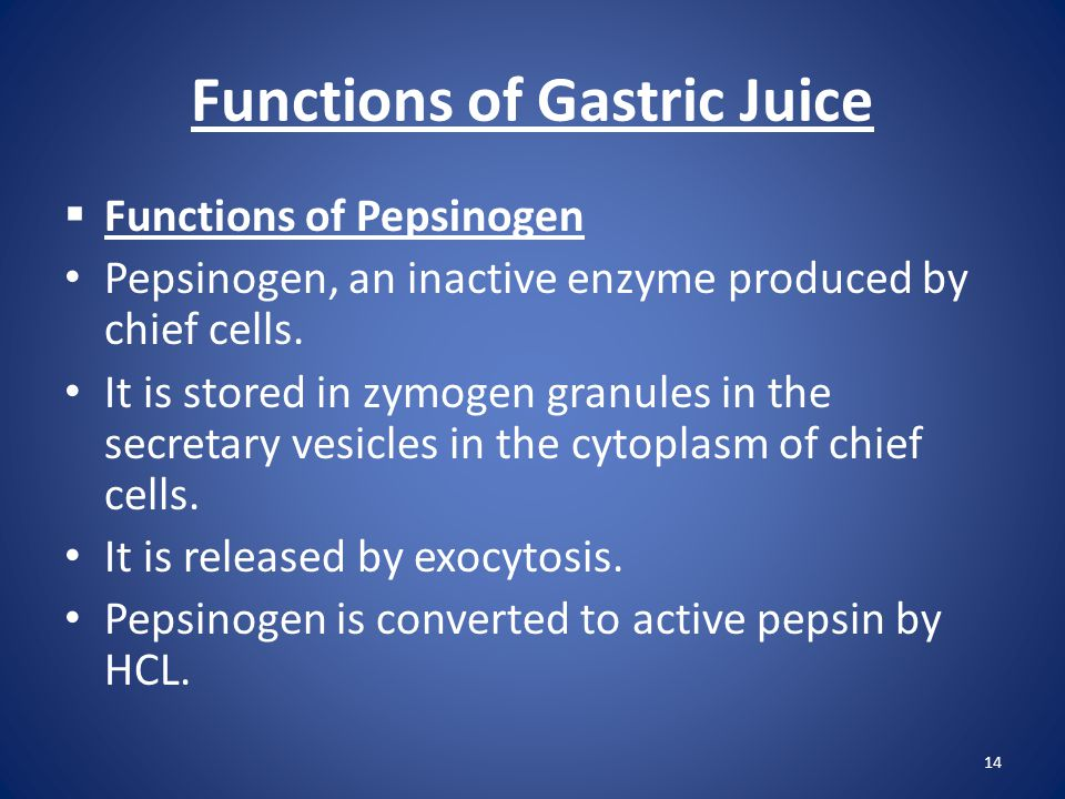 Functions of Gastric Juice  Functions of Pepsinogen Pepsinogen, an inactive enzyme produced by chief cells. It is stored in zymogen granules in the s