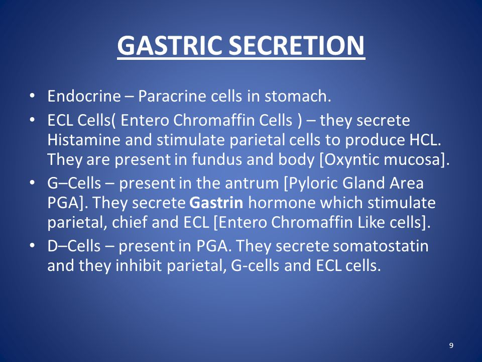 GASTRIC SECRETION Let us consider Exocrine products and their role in Digestion: 1.
