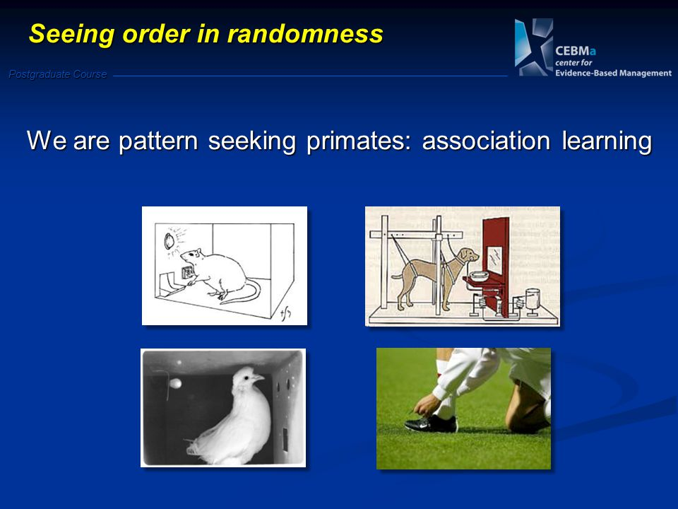 Postgraduate Course We are pattern seeking primates: association learning Seeing order in randomness