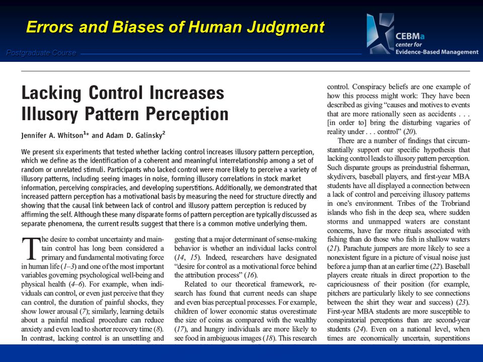 Postgraduate Course Errors and Biases of Human Judgment
