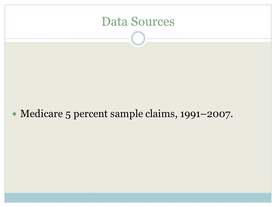 Data Sources Medicare 5 percent sample claims, 1991–2007.