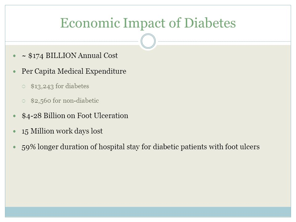 Economic Impact of Diabetes ~ $174 BILLION Annual Cost Per Capita Medical Expenditure  $13,243 for diabetes  $2,560 for non-diabetic $4-28 Billion on Foot Ulceration 15 Million work days lost 59% longer duration of hospital stay for diabetic patients with foot ulcers